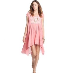 Free People Pink Embroidered India Gauze Dress S